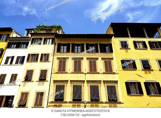 facades of townhouses, Piazza Santa Croce, old town of Florence, Tuscany, Italy, Europe