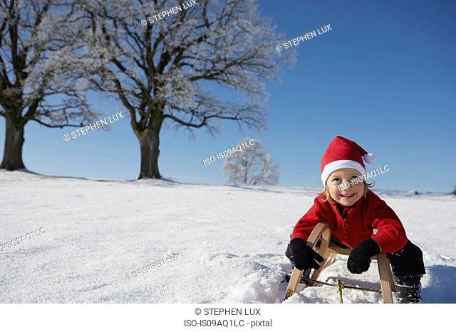 Portrait of young boy on sled