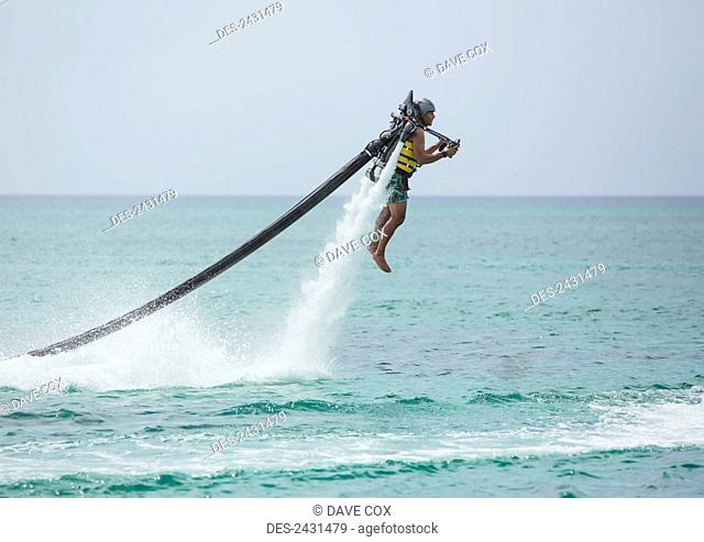 Jet pack over the Caribbean; Grand Cayman, Cayman Islands