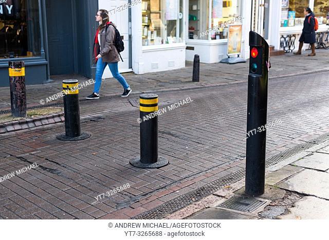 Automatic rising bollards to restrict traffic in Cambridge city centre, Cambridgeshire, England, UK