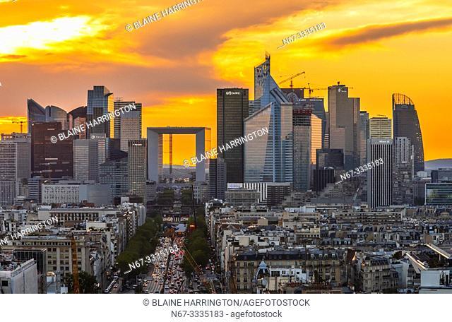 Avenue de la Grande Armee leading to La Défense, which is a major business district located three kilometres west of the city limits of Paris