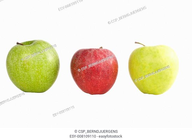 three apples isolated on