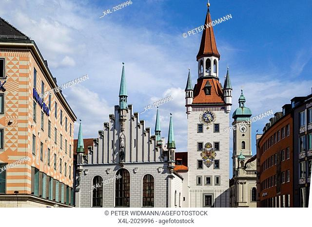 Old Town Hall in Munich, Marienplatz, Upper Bavaria, Bavaria, Germany