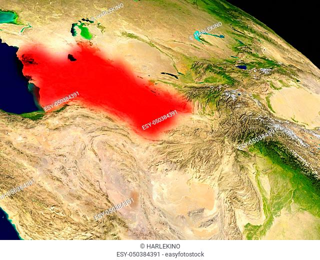Turkmenistan from space in red. 3D illustration with highly detailed realistic planet surface. Elements of this image furnished by NASA