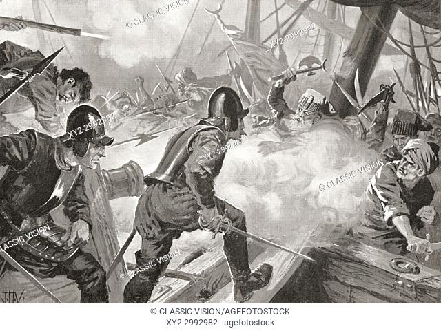 The Battle of Lepanto, 1571. After the painting by J. H. Valda, d. 1941. . From Hutchinson's History of the Nations, published 1915