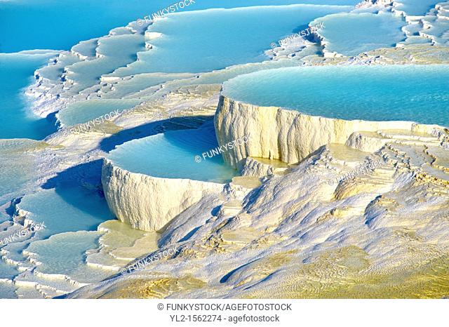 Photo & Image of Pamukkale Travetine Terrace, Turkey  Images of the white Calcium carbonate rock formations  Buy as stock photos or as photo art prints  5