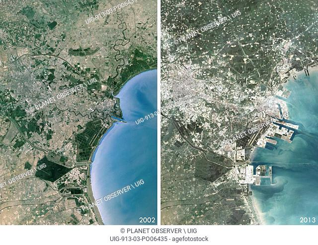 Satellite view of Tianjin and Binhai, China in 2002 and 2013. This before and after image shows urban expansion over the years