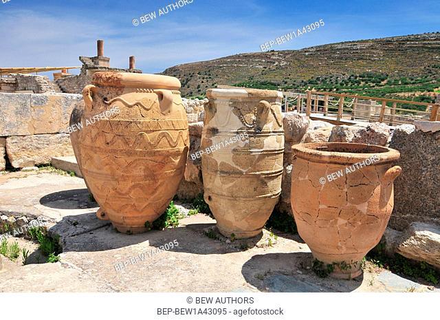 Pithoi, ceramic jars at Palace of Knossos near Heraklion. Crete, Greece