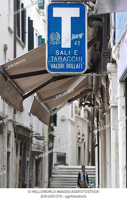 Sign above a Tabaccheria in Venice, Veneto, Italy, Europe