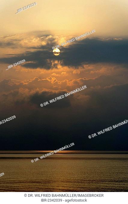 Sunrise, Tabgha at the Sea of Galilee, Gennesaret, Yam Kinneret, Lake Tiberias, Galilee, Israel, Middle East