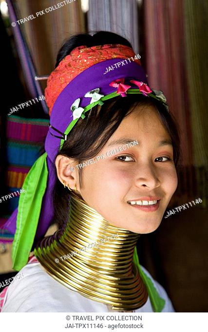 Thailand, Golden Triangle, Chiang Rai, Long Neck Karen Hilltribe, Long Neck Girl
