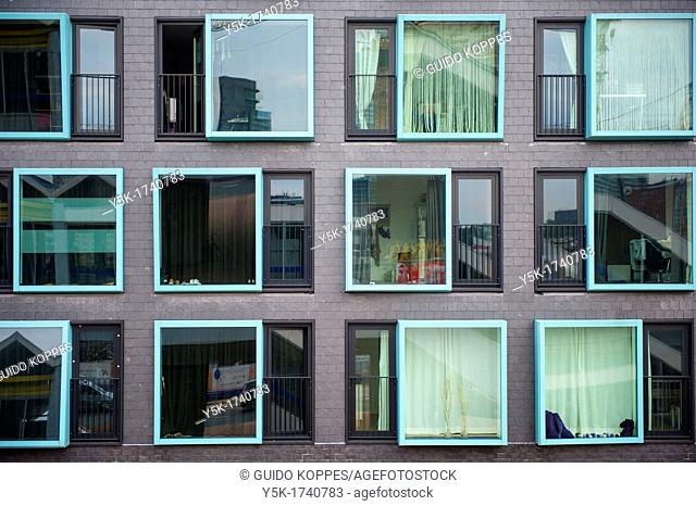 The facade or front of a student's dormitory in Rotterdam, Netherlands