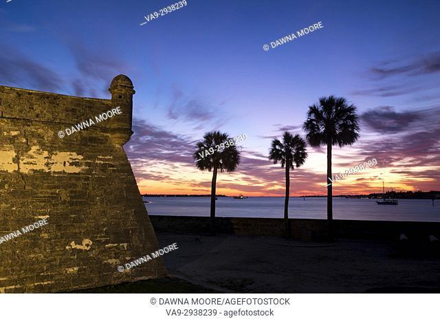 Sunrise over Matanzas Inlet and Castillo de San Marcos, St. Augustine, Florida