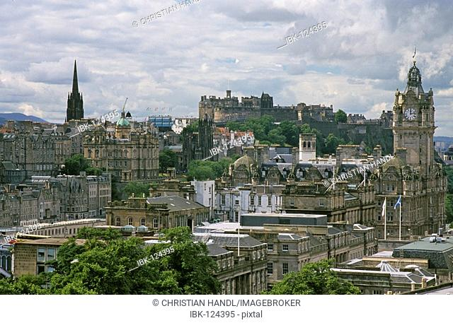 Waverly Market and castle seen from Calton Hill, Edinburgh, Scotland