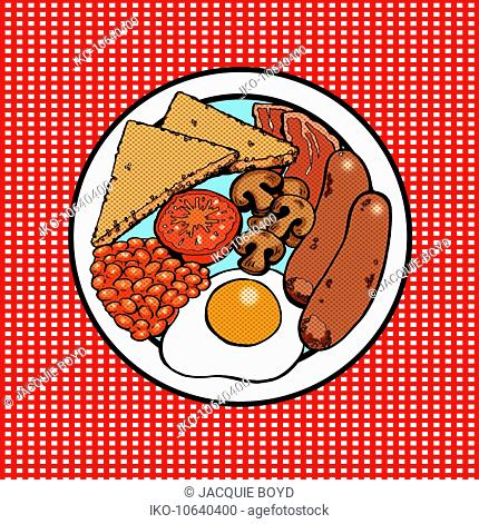 Overhead view of plate with full English breakfast