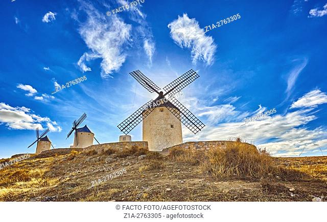 Landscape with windmills of Consuegra. Don Quixote route. Toledo. Castile-La Mancha. Spain