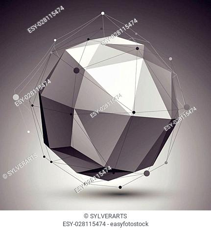 Spatial technological shape, polygonal single color eps8 wireframe object placed over dark background