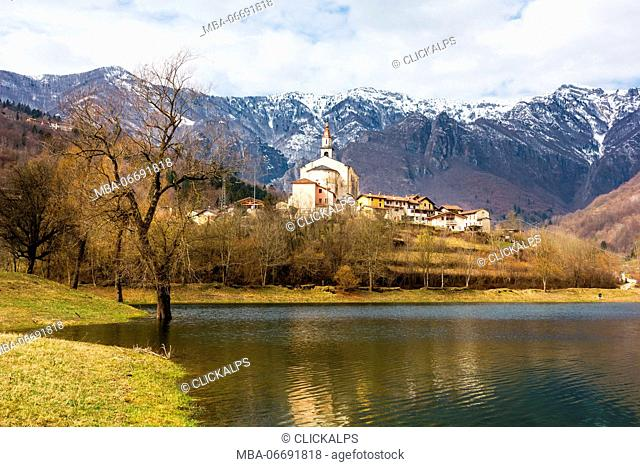 Laghi, Province of Vicenza, Veneto, Italy. Small Church surrounded by mountains