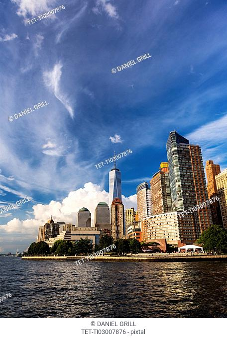 Financial district of lower Manhattan and Hudson River
