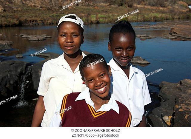 Schueler, Treur River, Sefogane River, Bourke's Luck Potholes, Blyde River Canyon, Graskop, Panorama Route, Mpumalanga, Suedafrika