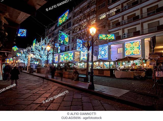 Artist lights in Salerno, historical center, Christmas, Luci d'Artista, Campania, Italy, Europe