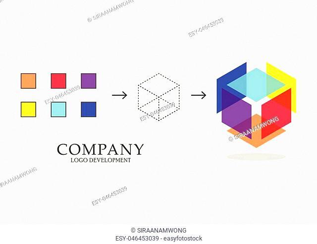 Abstract geometric logo development. Vector illustration diagram