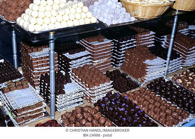 Chocolates are sold in Chocolaterie Sukerbuyc in city of Brugge Belgium