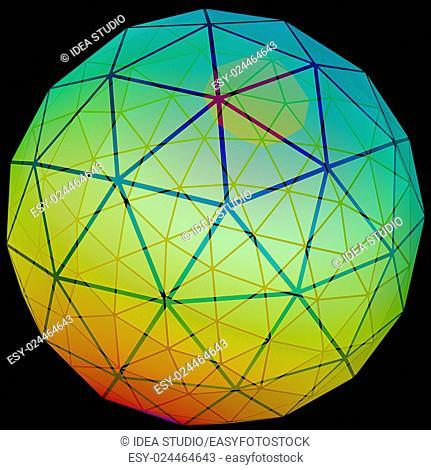 3D illustration of network grid information globe