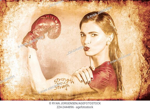 Very vintage photo of beautiful girl fist pumping muscles with text STRENGTH BEYOND STRENGTH tattoo. Far beyond driven poster pinup