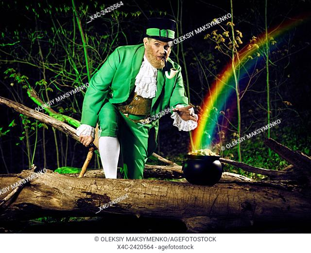 Funny Leprechaun stealing a pot of gold in a forest, artistic St. Patrick's holiday concept
