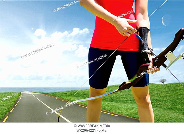 Archery player on a road