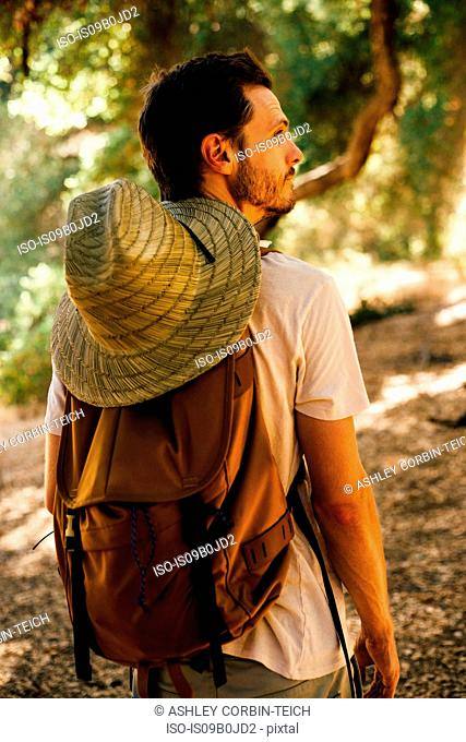 Rear view of hiker with backpack and sunhat looking away, Malibu Canyon, California, USA