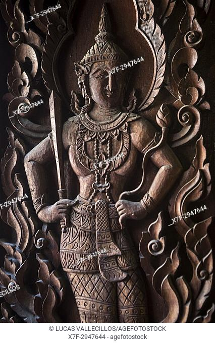 Bas relief, in Wat Phra Singh temple, Chiang Mai, Thailand