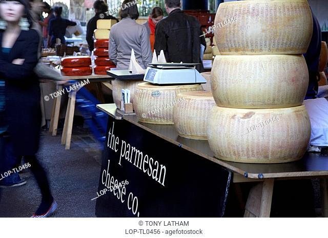 England, London, Borough Market, A cheese stall at Borough Market