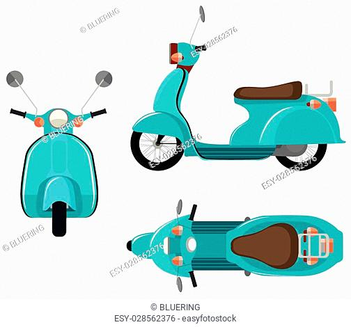 Flashcard of scooter from three side view