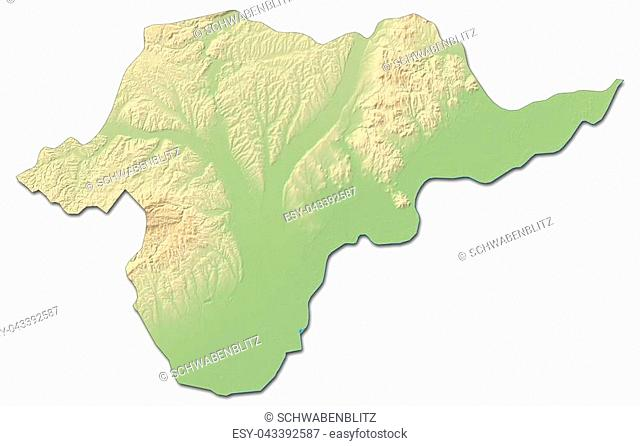 Relief map of Borsod-Abauj-Zemplen, a province of Hungary, with shaded relief
