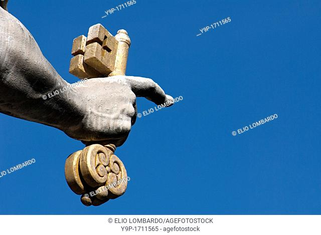 Detail of Saint Peter's Statue Holding Key to Heaven  Saint Peter's Square  Vatican City  Rome  Italy