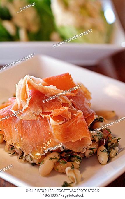 a dish of ham tapas
