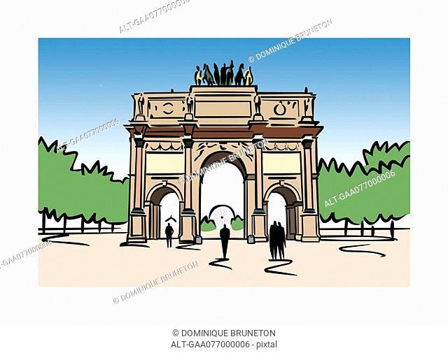 Illustration of the Arc de Carrousel in Paris, France