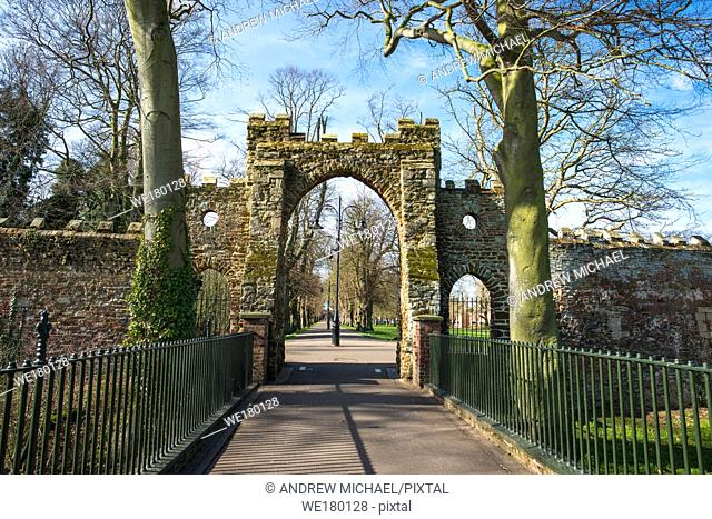 The Guannock Gate in the Walks in Kings Lynn, was originally part of the townâ. . s defences. Norfolk, England, UK