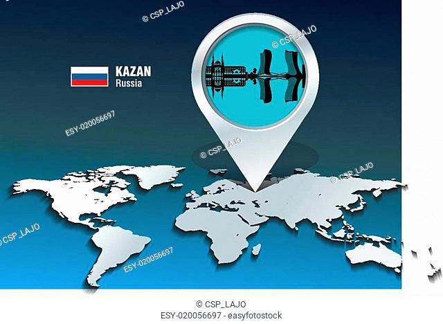 Map pin with Kazan skyline