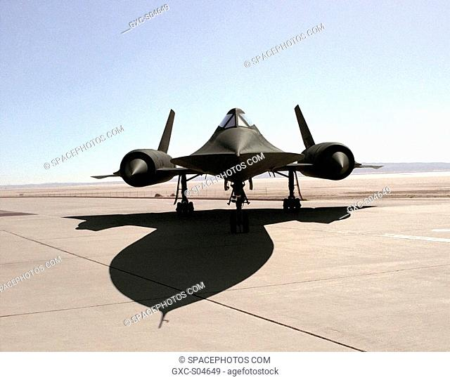 This photo shows a head-on shot of NASA's SR-71A aircraft on the ramp at NASA's Dryden Flight Research Center, Edwards, California