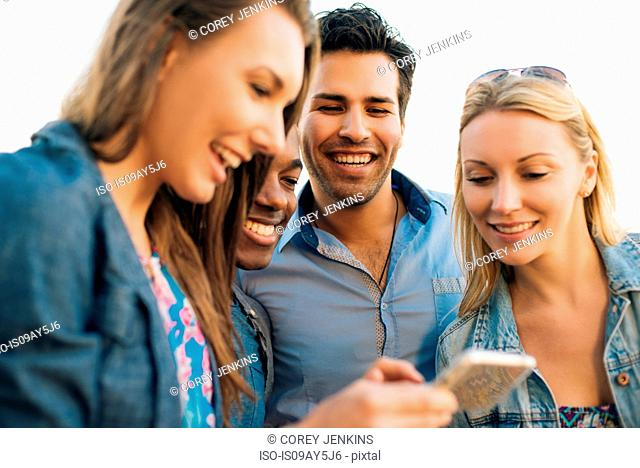 Adult friends reading smartphone text on pier, Santa Monica, California, USA