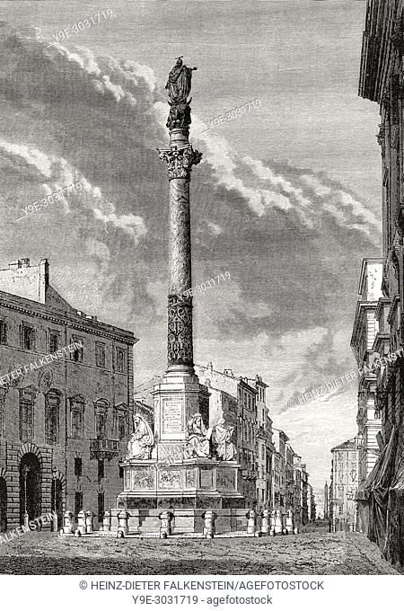The Column of the Immaculate Conception, Rome, Italy, 19th Century