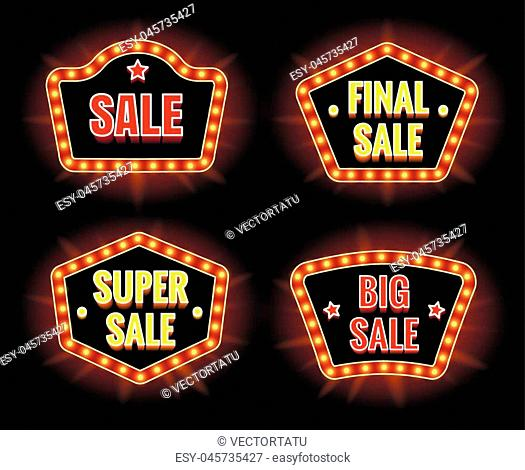 Retro sale lightbulb signs and big discount campaign banners vector illustration