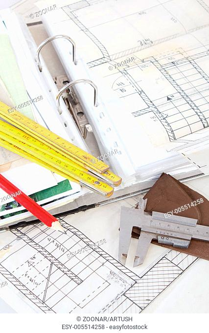 Architectural plans of the old paper measuring tools and file with the project