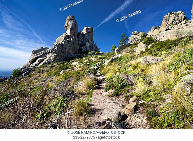 Acebo cliffs in the Pedriza. Regional Park Of Alto Manzanares. Sierra de Guadarrama. Madrid. Spain. Europe