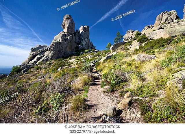 Acebo cliffs in the Pedriza. Regional Park Of Alto Manzanares. Sierra de Guadarrama. Madrid. Spain. Europe