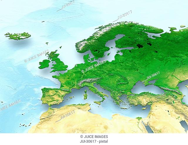 map, Western Europe, political, relief map