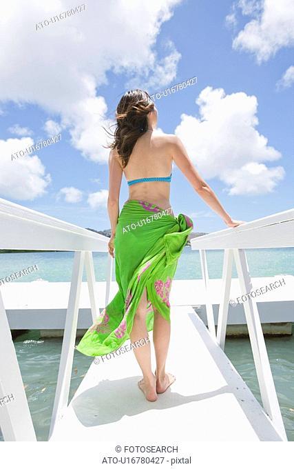 Rear view of a woman standing on a pier